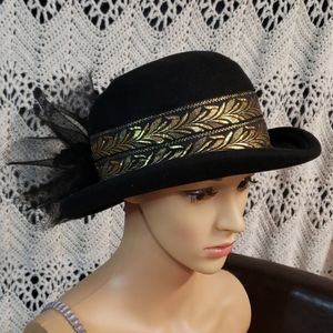 Vintage Bollman hat Church Derby Bowler Black Gold